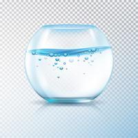 Bolle dell'acqua della ciotola di pesce trasparente vettore