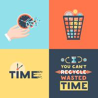 Wasted Time 4 Flat Icons Square vettore
