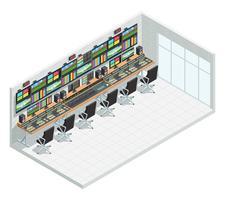interno studio isometrica di trasmissione