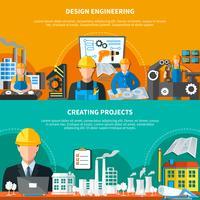 Collezione di banner design industriale vettore