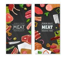 Set di bandiere del mercato di carne vettore