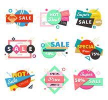 Set di icone geometriche di vendita materiale design vettore