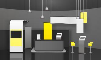 Pubblicità Stand 3D Mockup vettore