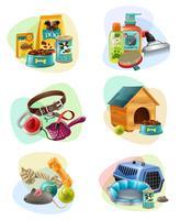 Icone della composizione di concetto di cura dell'animale domestico messe vettore