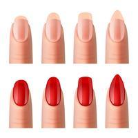 Set di immagini realistiche di manicure per unghie delle donne