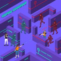 Illustrazione isometrica di battaglie di pistola virtuale vettore