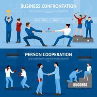 Set di banner piatto di confronto costruttivo d'affari vettore