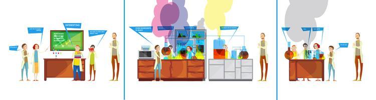 Studenti in fumetti di laboratorio chimico vettore