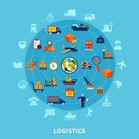 Composizione rotonda logistica vettore