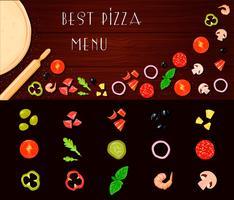 Set di verdure di riempimento di pizza