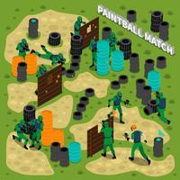 Illustrazione isometrica della partita di Paintball