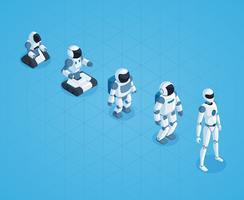 Evoluzione del design isometrico robot vettore