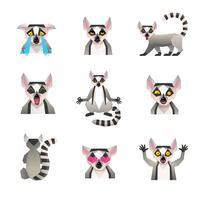 Set di icone di lemure poligonali vettore