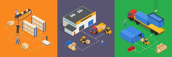 Illustrazioni isometriche di vettore del magazzino