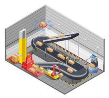Interno isometrico del magazzino automatico