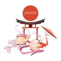 Retro illustrazione del fumetto degli elementi della cultura giapponese