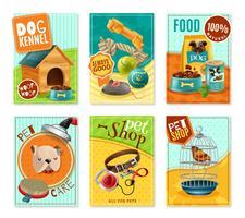 Pet Care 6 Mini Banners Set vettore