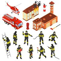 Set di icone di vigili del fuoco isometrica vettore