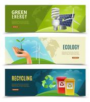 Set di banner orizzontale ecologico 3 vettore