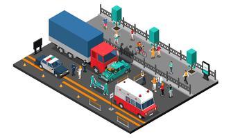 Illustrazione isometrica di incidente stradale