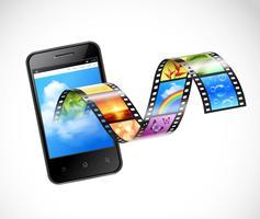 Smartphone con streaming di illustrazione video vettore