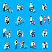 Set di icone isometriche di malattie infantili vettore