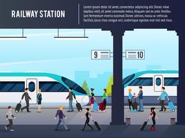 Illustrazione della stazione ferroviaria di Intercity vettore