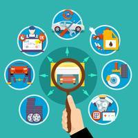 Concetto di progetto del cerchio di servizio automatico vettore