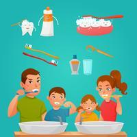 Giovane famiglia che pulisce insieme i denti vettore
