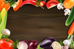 Fondo in legno di verdure vettore