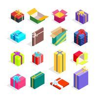 Set di scatole regalo isometriche vettore