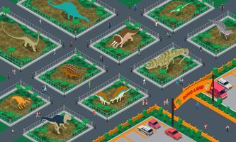 Composizione isometrica di Dino Land vettore