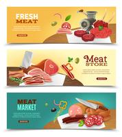 Set di bandiere orizzontali del mercato di carne vettore