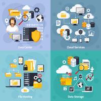 Set di icone di concetto di servizi di hosting
