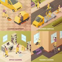 Isometrica concetto di pulizia industriale vettore