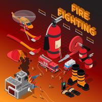 Composizione isometrica pompiere vettore