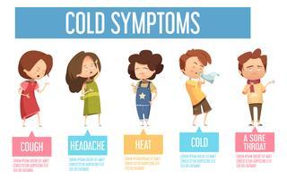 Poster di infografica piatta di sintomi di bambini freddi