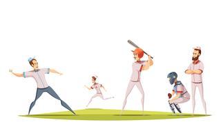 Concetto di design di giocatori di baseball vettore