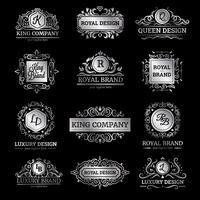 Set di etichette di lusso argento vettore
