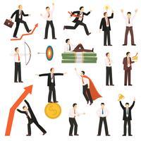 Collezione di icone piane di successo uomo d'affari