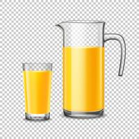 Vetro e brocca con succo d'arancia su sfondo trasparente