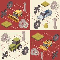 Concetto isometrico di veicoli agricoli vettore