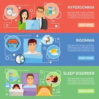 Set di banner di disturbi del sonno vettore