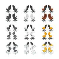 Set di icone sedia ufficio vettore