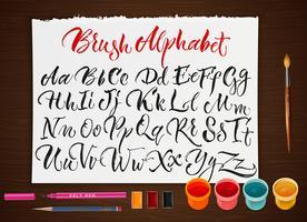 Poster con foglio di carta con alfabeto vettore