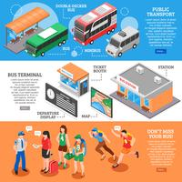Set di banner isometrica stazione degli autobus