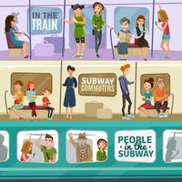 Set di banner di persone metropolitana vettore