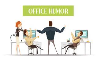 Illustrazione di stile del fumetto di umore dell'ufficio vettore