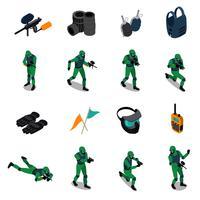 Set di icone isometriche di paintball vettore
