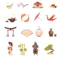 Set di icone del Giappone retrò dei cartoni animati